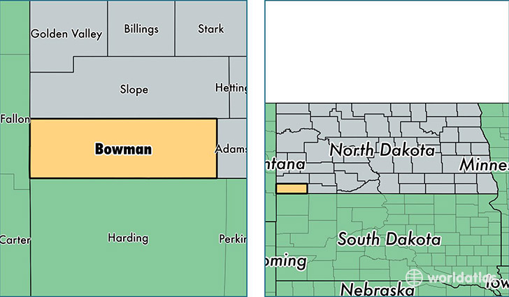 location of Bowman county on a map