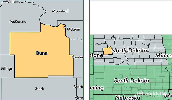 location of Dunn county on a map