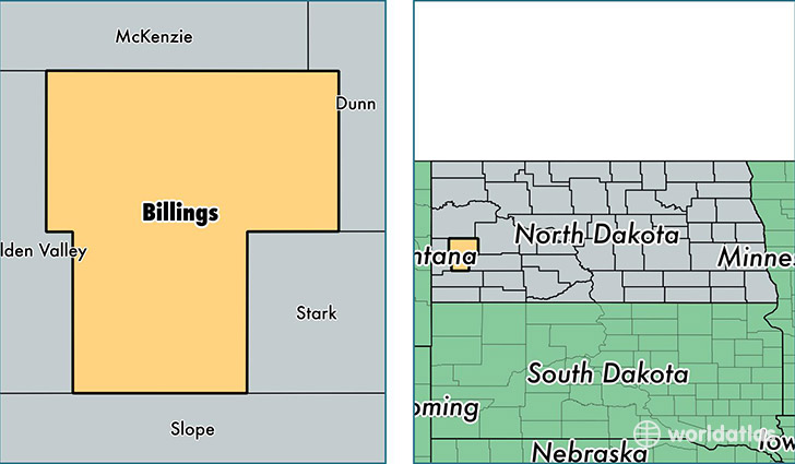 location of Billings county on a map