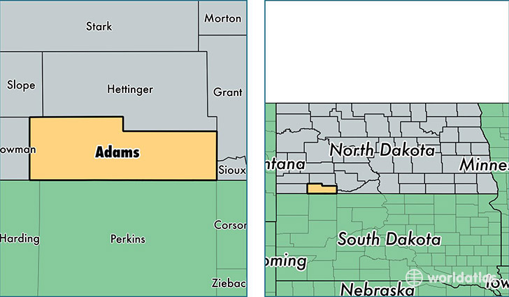Adams County, North Dakota / Map of Adams County, ND / Where is ...