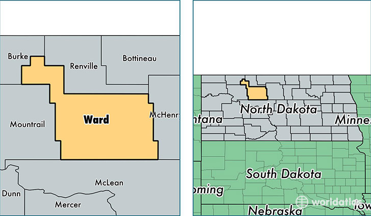 location of Ward county on a map