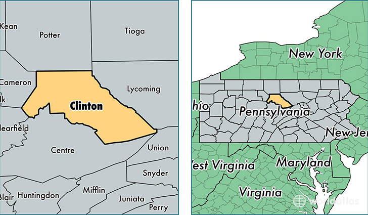 location of Clinton county on a map