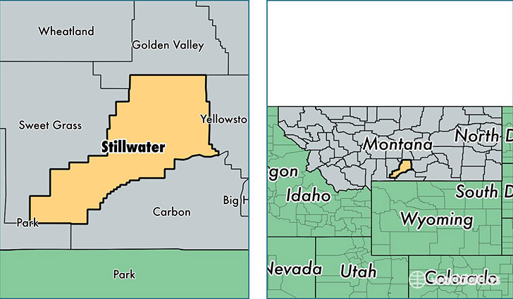 location of Stillwater county on a map