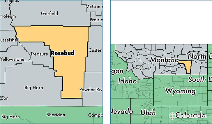 Location Of Rosebud County On A Map