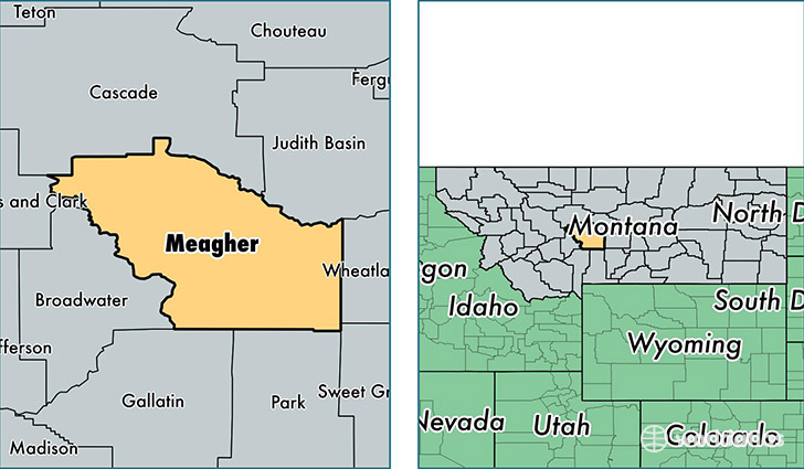 location of Meagher county on a map