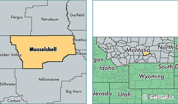 location of Musselshell county on a map