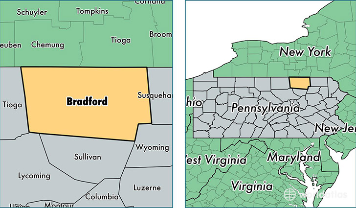 location of Bradford county on a map