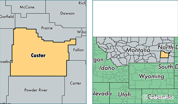 Location Of Custer County On A Map