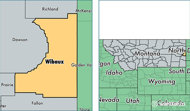 location of Wibaux county on a map