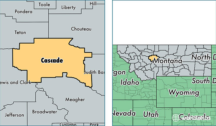 location of Cascade county on a map