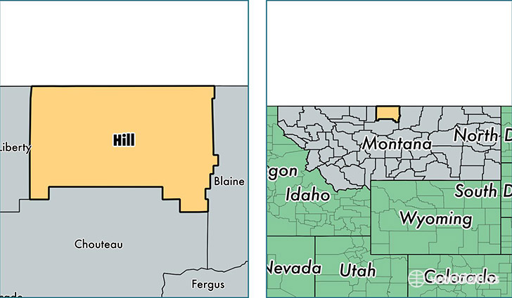 location of Hill county on a map