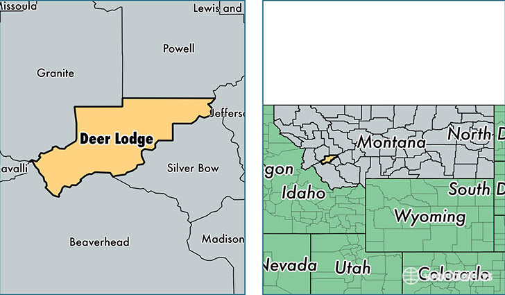 location of Deer Lodge county on a map