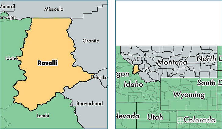 location of Ravalli county on a map