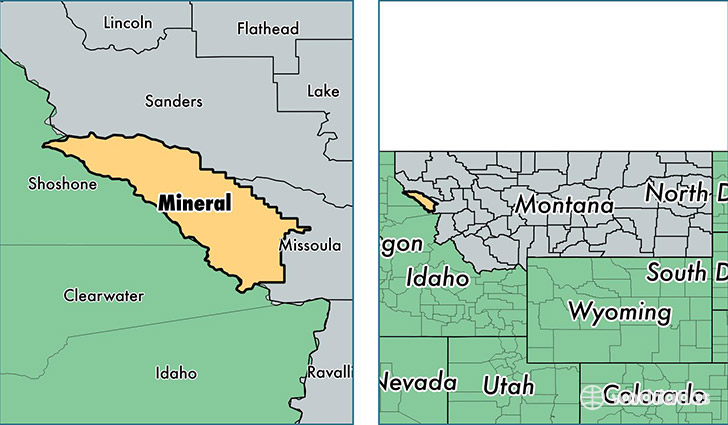 location of Mineral county on a map
