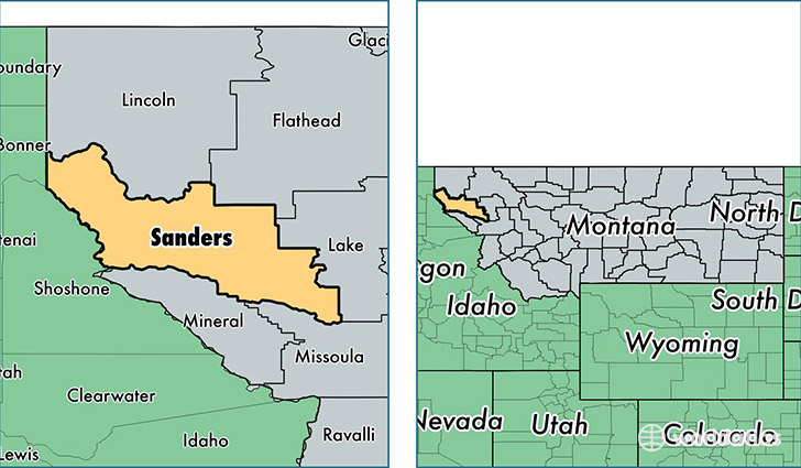 location of Sanders county on a map