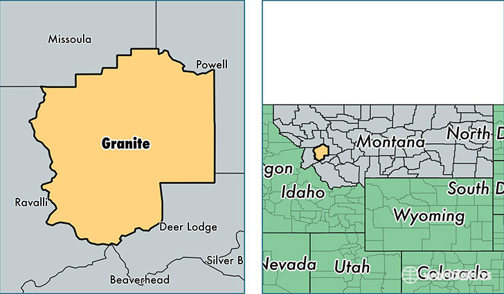 location of Granite county on a map