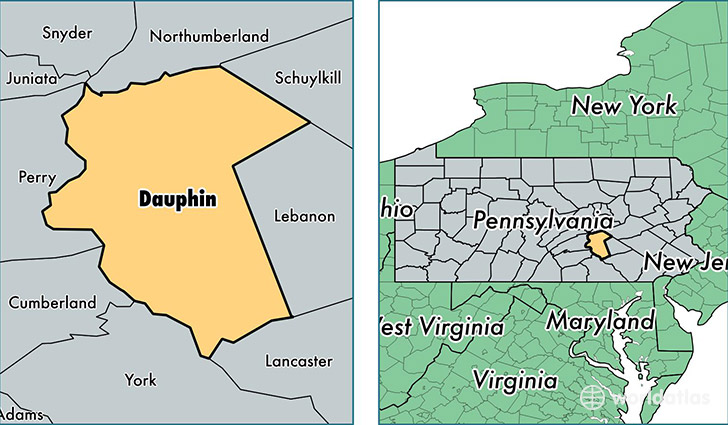 location of Dauphin county on a map
