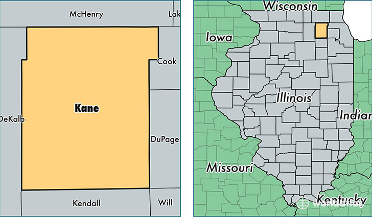 location of Kane county on a map