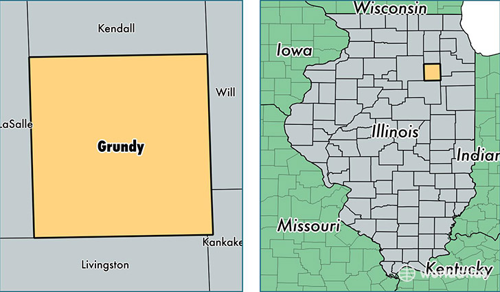location of Grundy county on a map