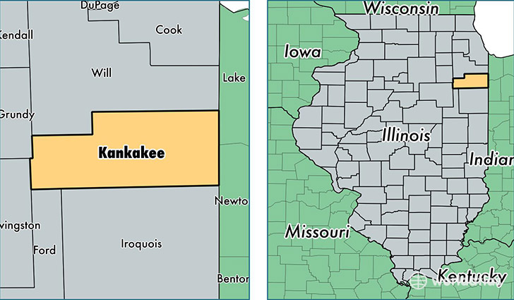 location of Kankakee county on a map