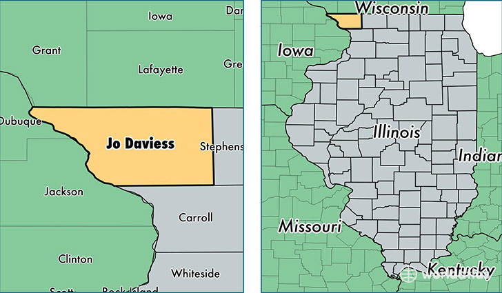 location of Jo Daviess county on a map