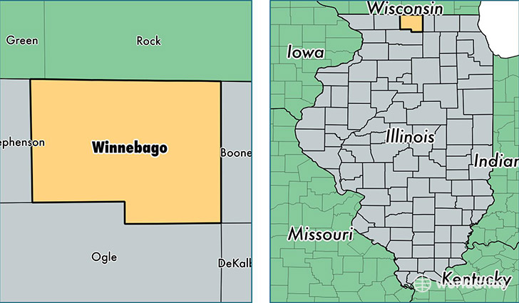 location of Winnebago county on a map