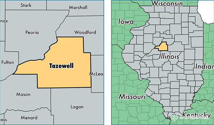 location of Tazewell county on a map