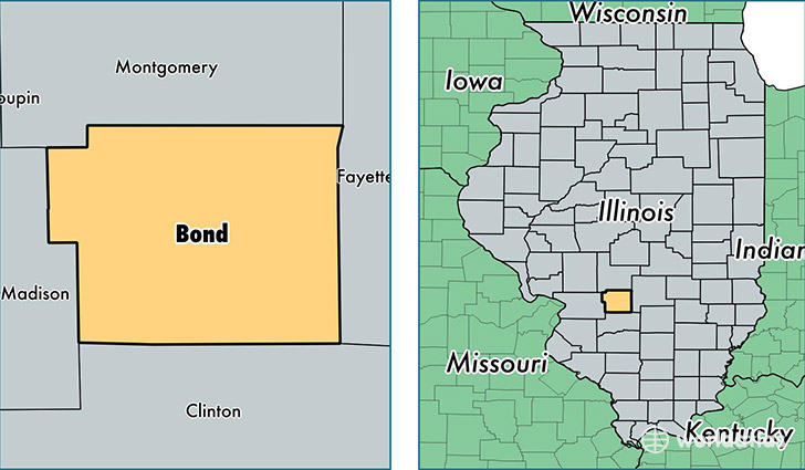 location of Bond county on a map