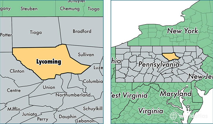 location of Lycoming county on a map
