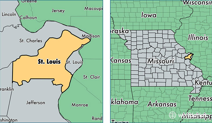 Saint Louis County Missouri Map Of Saint Louis County MO - St louis missouri on map of us