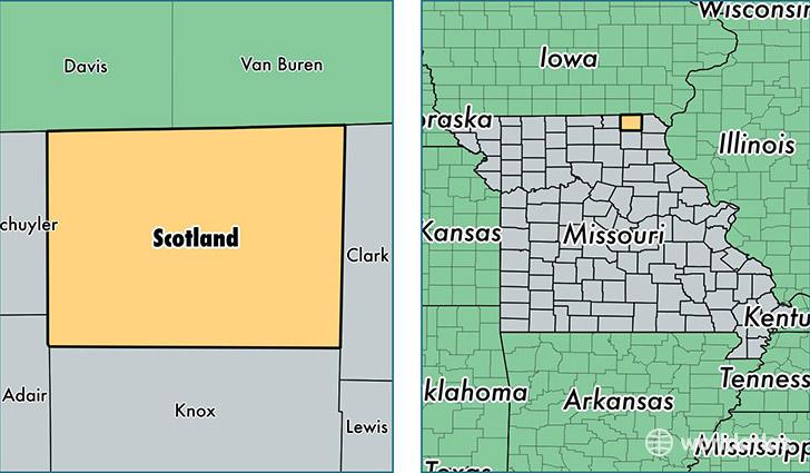 Scotland County Missouri Map Of Scotland County Mo