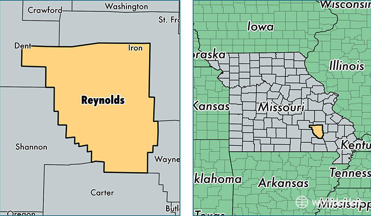 location of Reynolds county on a map