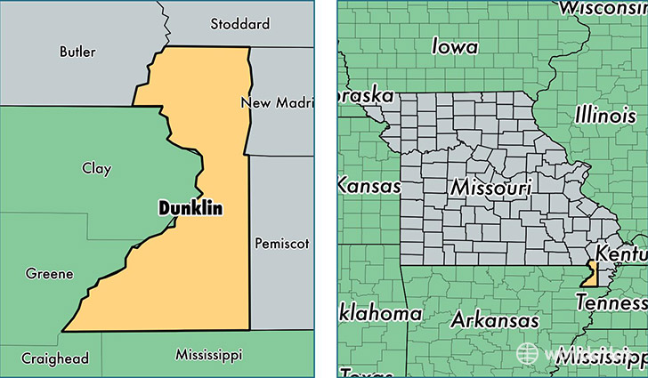 location of Dunklin county on a map