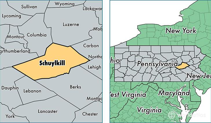 Schuylkill County Pennsylvania Map Of Schuylkill County PA - Pa map by county