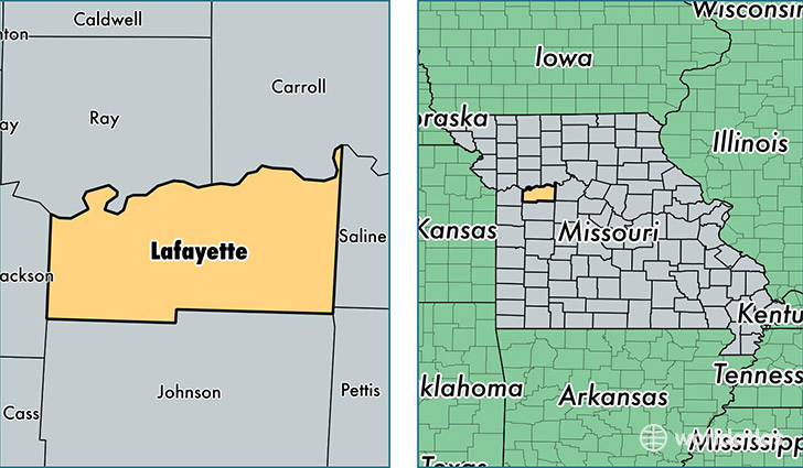 location of Lafayette county on a map