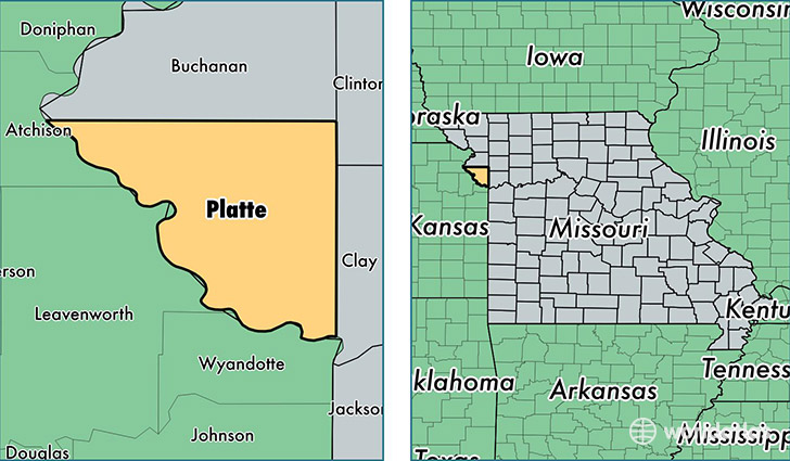 location of Platte county on a map
