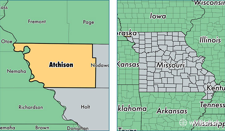 location of Atchison county on a map