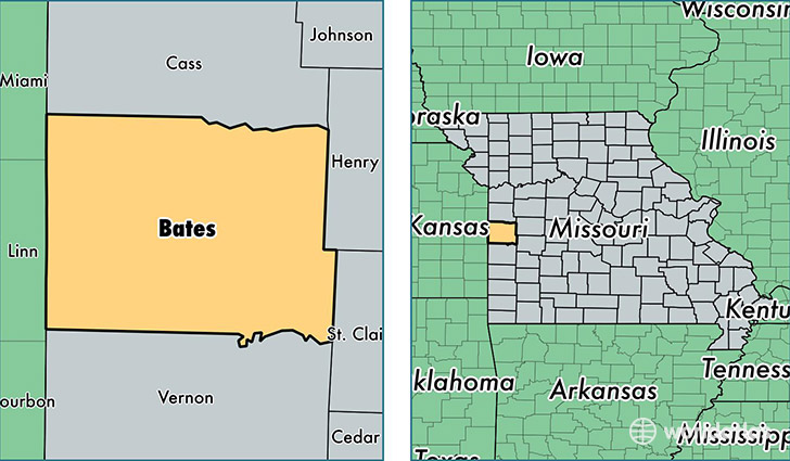 location of Bates county on a map