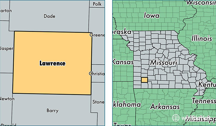 location of Lawrence county on a map