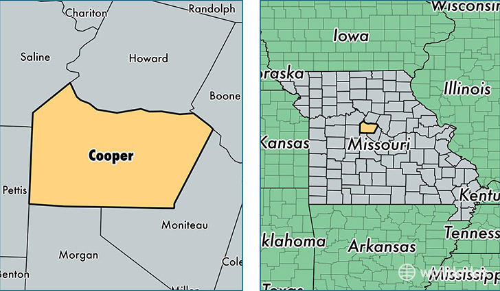 location of Cooper county on a map
