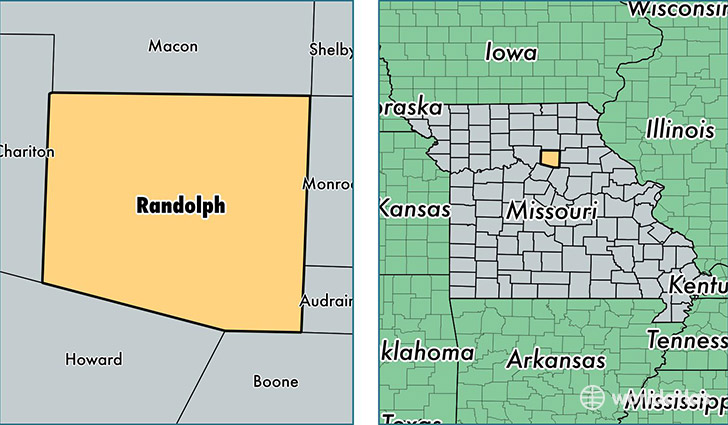 location of Randolph county on a map