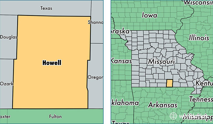 location of Howell county on a map