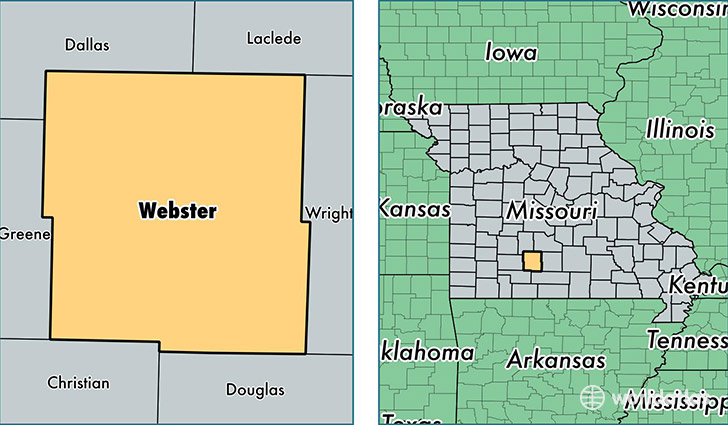 location of Webster county on a map