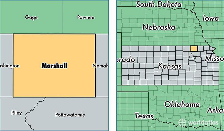 Counties Kansas Map.Marshall County Kansas Map Of Marshall County Ks Where Is
