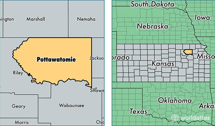 location of Pottawatomie county on a map