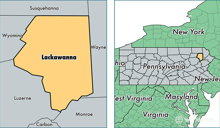 location of Lackawanna county on a map