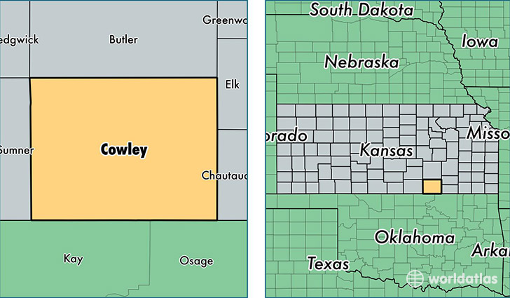 location of Cowley county on a map