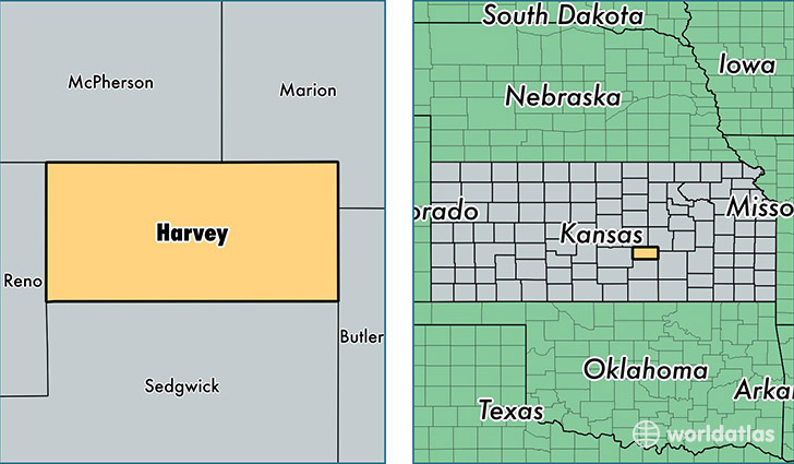 location of Harvey county on a map