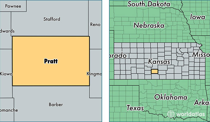 location of Pratt county on a map