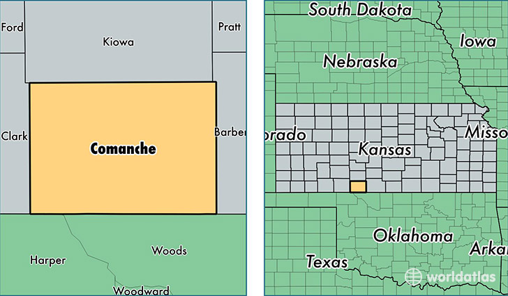 location of Comanche county on a map